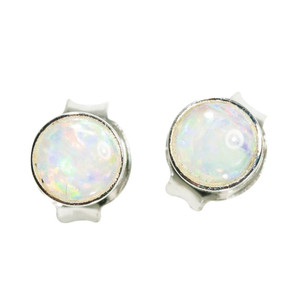BRIGHT MELODY STERLING SILVER NATURAL AUSTRALIAN WHITE OPAL STUD EARRINGS