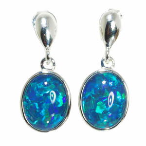 BRIGHT STRENGTH 14KT WHITE GOLD AUSTRALIAN OPAL DROP EARRINGS