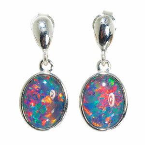 1 BRIGHT SUNLIGHT FLASH 14KT WHITE GOLD AUSTRALIAN OPAL DROP EARRINGS