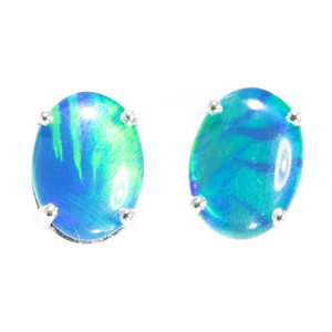 ELECTRIC MOUNTAIN RANGE STERLING SILVER AUSTRALIAN  OPAL STUD EARRINGS