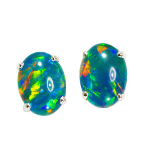 ELECTRIC BRIGHT SUNSET STERLING SILVER AUSTRALIAN  OPAL STUD EARRINGS