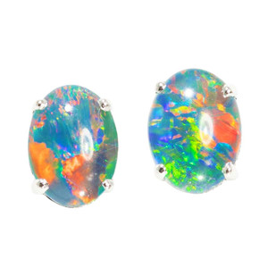 BRIGHT CONFETTI EXPRESS STERLING SILVER AUSTRALIAN  OPAL STUD EARRINGS