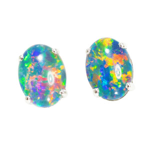 ELECTRIC BRIGHT EXPRESS STERLING SILVER AUSTRALIAN  OPAL STUD EARRINGS