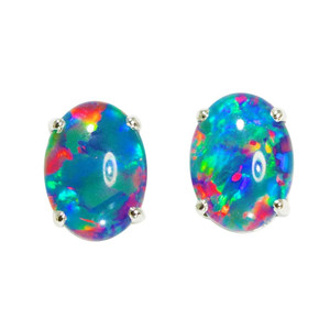 ELECTRIC EXPRESS STERLING SILVER AUSTRALIAN  OPAL STUD EARRINGS