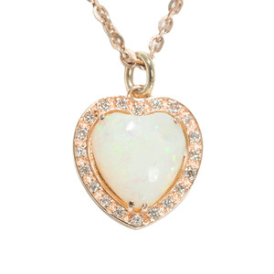 BREATHTAKING LOVE 14KT ROSE GOLD & DIAMOND  AUSTRALIAN HEART SHAPED WHITE OPAL NECKLACE