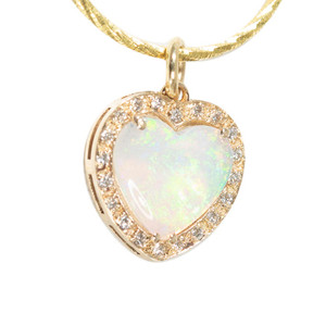 ALLURING PASSION 14KT YELLOW & DIAMOND AUSTRALIAN HEART SHAPED WHITE OPAL NECKLACE