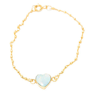 RAINBOW WATERWORLD HEART SHAPED AUSTRALIAN WHITE OPAL BRACELET