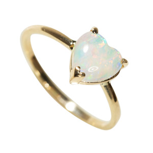 BRIGHT LOVE 14KT YELLOW GOLD AUSTRALIAN WHITE OPAL RING