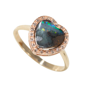 DEEP NATURAL LOVE 14KT GOLD & DIAMOND AUSTRALIAN BOULDER OPAL RING