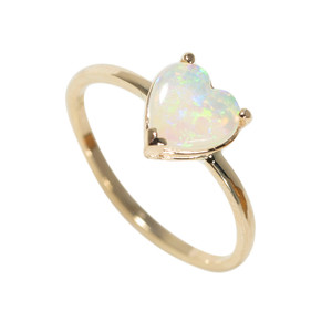 AMAZING PASSION 14KT GOLD AUSTRALIAN WHITE OPAL RING