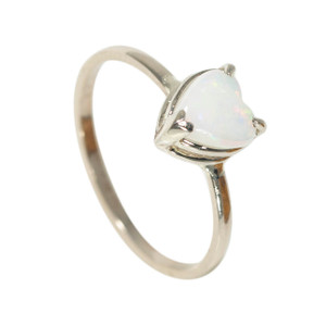 BRILLIANT NATURAL LOVE 14KT WHITE GOLD AUSTRALIAN OPAL RING