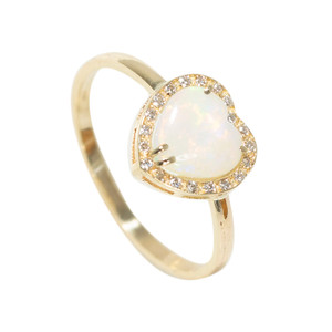 1 ABUNDANT LOVE 14KT YELLOW GOLD & DIAMOND AUSTRALIAN HEART SHAPED WHITE OPAL RING