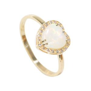 ABUNDANT LOVE 14KT YELLOW GOLD & DIAMOND AUSTRALIAN HEART SHAPED WHITE OPAL RING