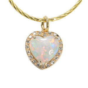 1 AMAZING RED LOVE 14KT YELLOW GOLD & DIAMOND HEART SHAPED AUSTRALIAN WHITE OPAL NECKLACE