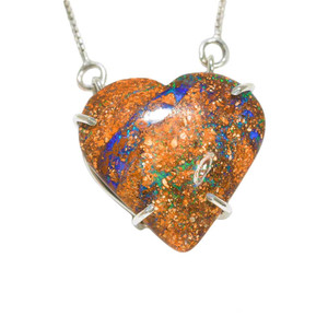 ELECTRIC RAINBOW RUSH STERLING SILVER AUSTRALIAN HEART SHAPED OPAL NECKLACE