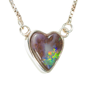 CRYSTAL FOREST STERLING SILVER AUSTRALIAN HEART SHAPED OPAL NECKLACE