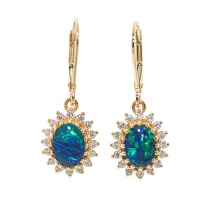 MOTHER NATURES BRILLIANCE 14KT GOLD AUSTRALIAN OPAL EARRINGS