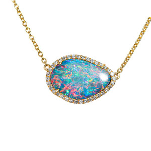 1 COLOR EXPLOSION 14KT YELLOW GOLD & DIAMOND AUSTRALIAN OPAL NECKLACE