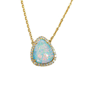 A COTTON CANDY SKY 14KT YELLOW GOLD & DIAMOND AUSTRALIAN OPAL NECKLACE