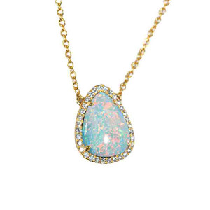 COTTON CANDY SKY 14KT YELLOW GOLD & DIAMOND AUSTRALIAN OPAL NECKLACE
