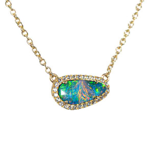 CASCADING RAINBOW WATERS 9KT YELLOW GOLD & WHITE TOPAZ AUSTRALIAN OPAL NECKLACE
