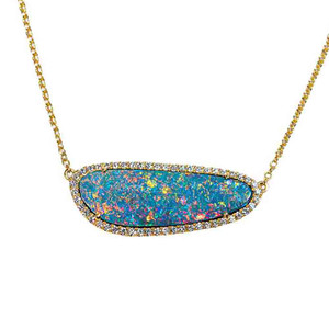 1 FIERY GOLDEN SEA 14KT YELLOW GOLD & DIAMOND AUSTRALIAN OPAL NECKLACE