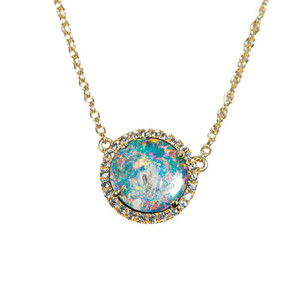1 RAINBOW STARBURST 9KT YELLOW GOLD & WHITE TOPAZ AUSTRALIAN OPAL NECKLACE