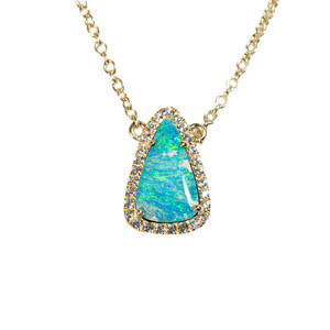 1 SERENE SEA BLISS 9KT YELLOW GOLD & WHITE TOPAZ AUSTRALIAN OPAL NECKLACE