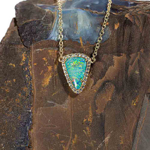 GLOWING FISH SCALE 9KT YELLOW GOLD & WHITE TOPAZ AUSTRALIAN OPAL NECKLACE