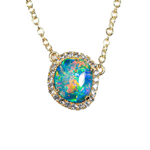 1 GREAT BARRIER REEF 9KT YELLOW GOLD & WHITE TOPAZ AUSTRALIAN OPAL NECKLACE