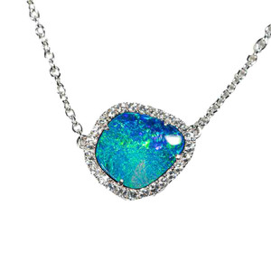 1 FRACTURED WATERS STERLING SILVER & WHITE TOPAZ AUSTRALIAN OPAL NECKLACE