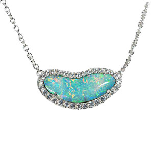 1 LAKESIDE MEMORIES STERLING SILVER & WHITE TOPAZ AUSTRALIAN OPAL NECKLACE