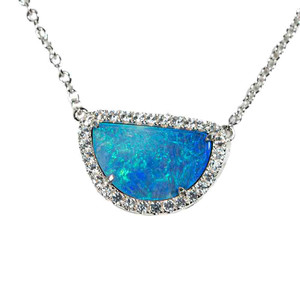 1 HYPNOTIC HALF MOON STERLING SILVER & WHITE TOPAZ AUSTRALIAN OPAL NECKLACE
