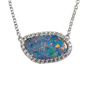 1 GALACTIC EXPEDITION STERLING SILVER & WHITE TOPAZ AUSTRALIAN OPAL NECKLACE