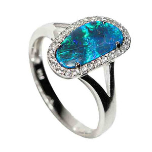 1 ELECTRIC FOREST STERLING SILVER & WHITE TOPAZ AUSTRALIAN OPAL RING