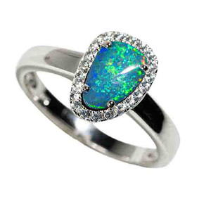 FINDING SOLACE IN THE SEA STERLING SILVER & WHITE TOPAZ AUSTRALIAN OPAL RING