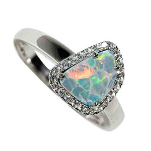 RAINBOW DRAGON SCALE STERLING SILVER & WHITE TOPAZ AUSTRALIAN OPAL RING
