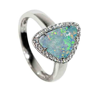 CRYSTAL GALAXIES STERLING SILVER & WHITE TOPAZ AUSTRALIAN OPAL RING
