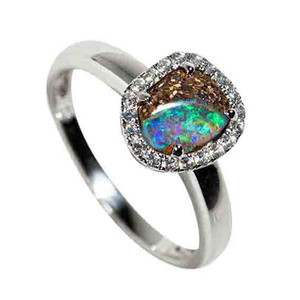 COSMIC WHIRPOOL STERLING SILVER & WHITE TOPAZ SOLID AUSTRALIAN OPAL RING