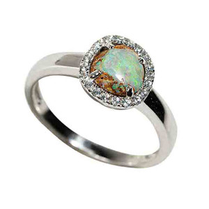 ICY COMET STERLING SILVER & WHITE TOPAZ SOLID AUSTRALIAN OPAL RING