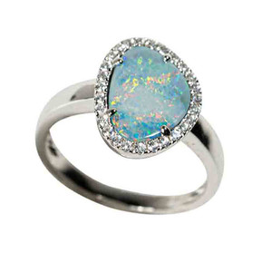 PATHWAY TO HEAVEN STERLING SILVER & WHITE TOPAZ AUSTRALIAN OPAL RING