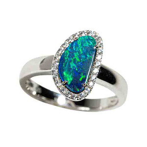 BELOW THE SURFACE STERLING SILVER & WHITE TOPAZ AUSTRALIAN OPAL RING