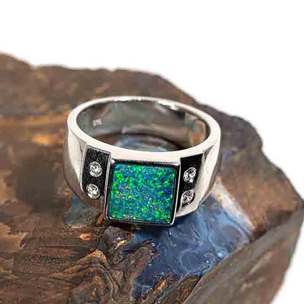 Mens Australian Black Opal Silver Ring