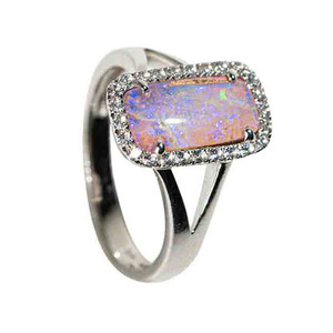 1 COSMIC UNICORN STERLING SILVER & WHITE TOPAZ SOLID AUSTRALIAN OPAL RING