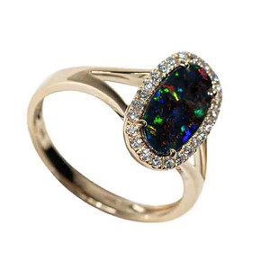 BEAUTY IN THE UNKNOWN 14KT YELLOW GOLD & DIAMOND SOLID AUSTRALIAN OPAL RING