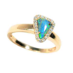 *SPEED OF LIGHT 14KT YELLOW GOLD & DIAMOND SOLID AUSTRALIAN OPAL RING