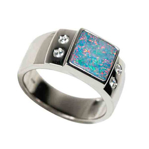THE FIRE WITHIN STERLING SILVER AUSTRALIAN BLACK OPAL MEN'S RING