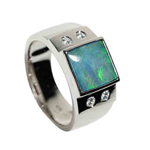 METALLIC BEETLE STERLING SILVER AUSTRALIAN BLACK OPAL MEN'S RING