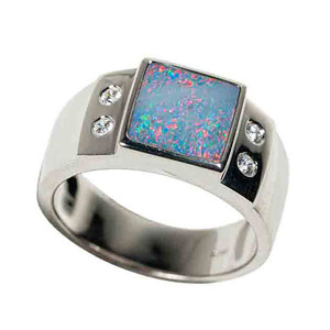 LILAC SUNRISE STERLING SILVER AUSTRALIAN BLACK OPAL MEN'S RING