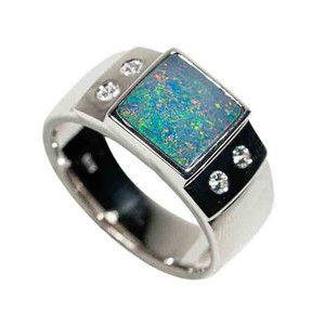 ALL THAT GLITTERS STERLING SILVER AUSTRALIAN BLACK OPAL MEN'S RING